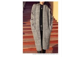 Wholesale Camel Wool Coat Women - 2018 new long cardigan women's autumn and winter sweater women solid ladies long-sleeved knit cardigan gray camel color thick long coat