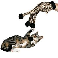 juguetes del juego del gato rasca y gana al por mayor-Juguetes para gatos Scratch Ball Glove Interactive Leopard Pattern Teaser Toy Funny Playing Toys for Cats Kitten Pet Products