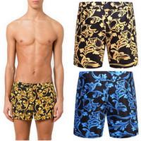 Wholesale Beach Wear Men - Polyester Swim Shorts Men Beach Wear 2018 Summer Swimming Printed Floral Board Shorts Pants Design Men's