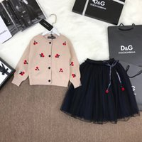Wholesale ball skirt two piece online - Children s Wear Girls Two Piece Skirt Gold silk high density knit cardigan skirts are shipped Cardigan embroidery the fabric is soft and