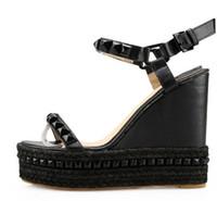 ingrosso chiodo della caviglia-taglia 34-39 sexy zeppa stile zeppa piattaforma tacco alto con bottone cintura fibbia salice chiodo staw donne sandali 532