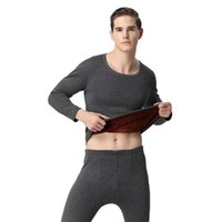 567af1c512a66c Male Female Long Johns Thicken Thermal Underwear Set for Autumn Winter Women  Men's Solid Fleece Lined Crew Neck Shirt Bottoms