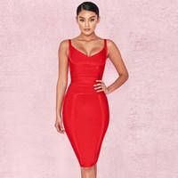 vestidos de clube vermelho venda por atacado-Sexy Bandage Vestido Roupas Femininas 2018 Com Decote Em V Vermelho Mulheres Bodycon Vestido Bandage Celebridade Partido Club Prom Vestidos de Roupas