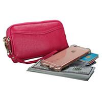 kartenhalter für handy großhandel-Casual Lady Lange Brieftasche Aus Echtem Leder Geldbörse Frauen Geldbörse Weiblichen Frauen Kartenhalter Tag Handtasche Handytasche