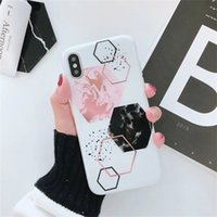 Wholesale back iphone color online - Retro Candy Color Marble Phone Case For Iphone X Soft TPU Geometry Splice Cover Back Case For Plus