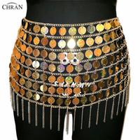 göbek kolye zincirleri toptan satış-Chran Lazer Altın Pullu Boncuk Belly Bel Zinciri Seksi Mini Etek Kadın Kolye Bikini Aşınma Parti Elbise Festivali Seksi Bod Takı