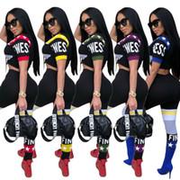 kadınlar seksi tişört yaz toptan satış-Kadın Eşofman Yaz Spor Mektup Baskılı T-shirt Kırpma Üst + Kalem Pantolon 2 ADET Set Kız Koşu Seksi Spor Takım Elbise Kıyafetler OOA4909