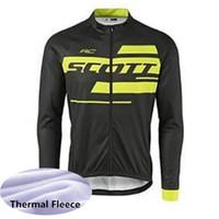 Wholesale yellow thermal shirt - 2018 uci pro team SCOTT cycling jersey winter thermal fleece Long Sleeve Shirt MTB Bicycle maillot racing bike clothing sportswear G1102