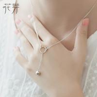 campanas redondas de plata al por mayor-Thaya 100% 925 Sterling Silver Long Pendant Bell Round Cat Collar Fine Jewelry Cut y collar simple para mujeres