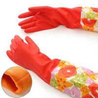 wasserdichte geschirrspülhandschuhe großhandel-Wasserdichter Haushalts-Handschuh-warmer Abwasch-Handschuh-Wasser-Staub-Halt-Reinigungs-Gummihandschuh