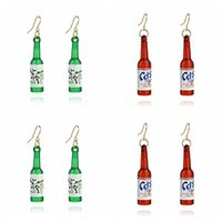 Wholesale unique plastic bottles - Korean Fashion Beer Bottle Dangle Earrings Unique Creative Earrings Long Ear Rings Personality Jewelry Ear Clip Stud Girls Free DHL H168F