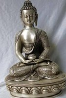 будда медицины оптовых-21см Китай Серебряный дракон восемь сокровище буддизм медицина Будда скульптура статуя (D0426)