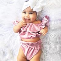 Wholesale pink velvet clothing wholesale - Baby Lotus leaf collar outfits INS Gold velvet Off Shoulder top+shorts 2pcs set 2018 fashion kids Boutique clothing sets 2 colors C3586