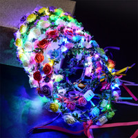 Wholesale hawaii wreath - New Style LED Flower Wreath Wedding Dress Hair Garland Bridal Bridesmaid Floral Crown Hawaii Seaside Holiday Decor Accessories 3jt YY