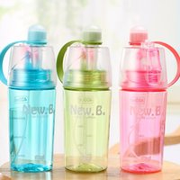 Wholesale kids water cooler - 400ml 600ml Children Creative Sport Drinking Spraying Water Bottle Portable Moisturizing Cooling Kettle For Kids Summer Gift NNA283