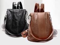 Wholesale leather fashion backpack vintage - Vintage Leather Backpack Women Fashion Leisure Travel Bag School Travel Bag For Teenage Girls Free DHL G143L