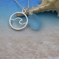 playas de cristal al por mayor-venta al por mayor 12 unids Wave Beach azul Sea Glass Necklace Ocean regalo de la joyería de la boda para ella
