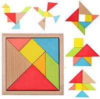 Wholesale wooden brain puzzles - Wooden Tangram Puzzles Children Educational Games Toys Brain Teaser DIY Geometric Shape Jigsaw Puzzle Kids Intelligence Learning For Prescho