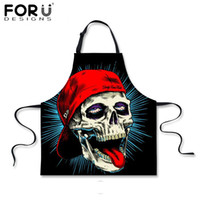 Wholesale chef prints - Forudesigns Skull Apron Novelty Black Kitchen Apron Skull Printed For Women Man Chef Cleaning Bibs Floral Butterfly Aprons