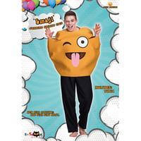 traje de sorriso adulto venda por atacado-Engraçado Emoji Roupas Halloween Cartoon Amarelo Rosto Sorridente Macacão Carnaval Festa Adultos Trajes Cosplay Chegam Novas 50yd C