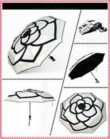 Wholesale brand new black white camellia Led umbrellas automatic sun and Rain Protection Umbrellas with gift box