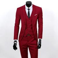 лучшие свадебные платья оптовых-XY05 S-6XL Autumn Men Clothes high quality three sets bridegroom's best Man Wedding Suit Business Casual Suit Blazers