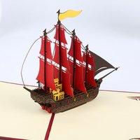 papel origami envío gratis al por mayor-3D pop-up origami papel tarjetas de felicitación hecho a mano kirigami barco de vela cumpleaños navidad aniversario postales regalo envío gratis