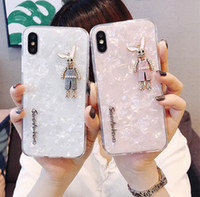 Wholesale rabbit iphone cases - 1130-95 beige pink silicone back case for iPhone X,dull polish back cover for iPhone X, cute rabbit phone case for iPhone X