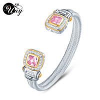 Wholesale bezel wire - UNY Bracelet Twisted Wire Cable Bangle Fashion Designer Brand inspired jewelry Antique Bangles Elegant Christmas Gift Bracelets