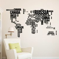 Wholesale World Travel Stickers - PVC Wall Sticker Travel World Map Letter Printed Bedroom Art Wall Decorative Stickers for Home Living Room Decoration 122*74cm