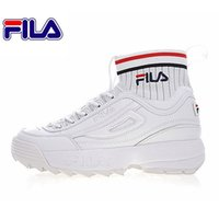Wholesale muffin shoes - 2018 Fila 2 II EVO Sockfit Destroyer II Sawtooth Muffin Knitted Mid-Bottom white blue red men women casual Shoes