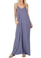 plaj kıyafeti kadınlar toptan satış-Kadınlar Katı Uzun Plaj Maxi Boho Elbiseler Yaz Rahat Spagetti Kayışı Elbise Giyim