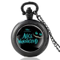 Wholesale pocket watch necklace alice wonderland resale online - New Arrivals Black Alice in Wonderland Theme Quartz Pocket Watch Retro Men Women Pendant Necklace Watches Christmas Gift