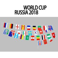 football flags wholesale Australia - Flag Series World Cup Flag Football Fans 32 Country Strings 9M Flags 14*21cm Banner Bar Cheer Decoration Indoor Outdoor Hanging Flags