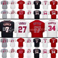 Wholesale Girls Brown - Men's 17 Shohei Ohtani 27 Mike Trout Jersey 7 Trea Turner 34 Washington Los Angeles Baseball Jerseys Embroidery Logos 100% Stitched