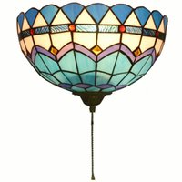 Wholesale porch lighting for sale - Group buy Tiffany Corridor Wall Lamps Semicircular Lattice Colorful Glass Balcony Wall Lights Mediterranean Porch Wall Sconce With Switch