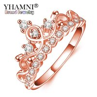 ingrosso riempire i monili di colore-YHAMNI Fashion Exquisite Crown Ring Rose Gold Filled CZ Anelli per le donne di colore di moda Zirconia gioielli con diamanti KYRA018
