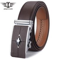 ingrosso cintura in pelle di cioccolato-Cintura in vera pelle Plyesxale Uomo 2018 Cinture di design Uomo Alta qualità Cinture in abito casual Nero cioccolato Cinturon Hombre G1