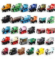 Wholesale mini wooden toy train - Wooden Toy Vehicles Wood Trains Model Toy Magnetic Train Great Kids Christmas Toys Gifts for Boys Girls many styles