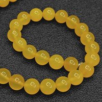 Wholesale Jade Beads Mm - DIY semi-finished products Natural 8 mm Yellow Jade Round Beads 15.5 inch