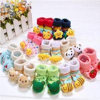 calcetines de bebé cajas al por mayor-Animal bebé calcetines calcetín de juguete Newborn Box paquete unisex calcetín calcetín antideslizante zapato de la habitación first walkers prewalkr