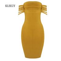 sarı akşam parti kısa elbiseleri toptan satış-Toptan-KLEEZY 2017 Yeni Varış Sarı Saçak Slash Boyun Kadınlar Akşam Parti Kapalı Omuz Mini Kısa Bodycon Bandaj Elbise H2737