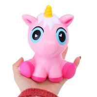 Wholesale unicorn soft toys - Squishy unicorns 15CM Jumbo Slow Rising Soft horse Oversize Phone Squeeze toys Pendant Anti Stress Kid Cartoon Toy Decompression Toy