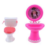 Wholesale furniture sinks - 2pcs set Bathroom Furniture Doll Accessories Plastic Toilet and Sink Set for Barbie Doll House Furniture Accessories