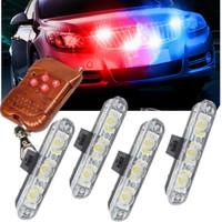 coches de la policía a distancia al por mayor-Control remoto inalámbrico 4x3 / led Ambulance Police light DC 12V luz de advertencia del estroboscópico para el carro del coche luz de emergencia intermitente luces de bomberos