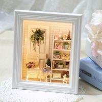 novos quadros de fotos de design venda por atacado-New CuteRoom DIY Handmade Luz Do Sol Zakka Room Dollhouse Kit Photo Frame Projeto Decoração Coleção Presente W-005