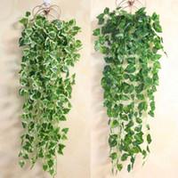 ingrosso piante di plastica edera-Decorazione domestica popolare Pianta verde Foglia di edera Fiore artificiale Ghirlanda di plastica Vite parete di fiori artificiali