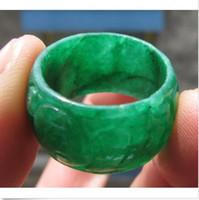 ingrosso gli anelli dell'uomo di giada-HOT raro cinese verde duro giada uomo o donna mano CALDA raro cinese verde duro giada uomo o donna intagliato a mano anello size8carved ring size8.5-9