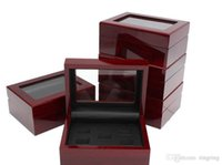Wholesale wooden box wholesale - 2 3 4 5 6 7 Hole Wooden Box Championship Ring Solid Wooden Display Jewelry Box Case Ring Boxes Wholesale Fan Men Gift Drop Shipping