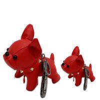 tierisches leder großhandel-Kinder großes Spielzeug Leder Tier Schlüsselbund Bulldog Charme Tasche Anhänger Schlüsselanhänger süße Hund Mädchen Kind Geschenk Frauen Schlüsselanhänger